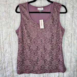 NEW DRESSBARN Tank Top Women's Size LARGE PL Lavender Purple Shirt Lace Sequins