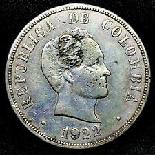 COLOMBIA REPUBLIC 1922P #2 Rare OBV & REV Error 50 CENTAVOS SILVER COIN KM#274