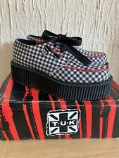 TUK Mondo Hi Creepers-  Gingham Black Red And White Size 4 Uk - Brand New