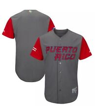 Majestic Puerto Rico WBC 2017 Red/gray 100% Authentic Jersey Size 44 (Large)