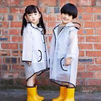 EE_ CHILDREN'S KIDS BOY GIRL TRANSPARENT RAINCOAT HOODED CLEAR PONCHO RAINWEAR F