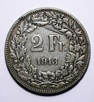 1913 Switzerland 2 Two Francs - 83.5% Silver - Lot 667