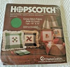 """""""Hopscotch"""" Brand Cross Stitch Fabric. Aida 14 Count. White And Green. New"""