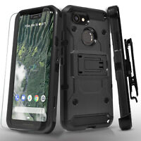For Google Pixel 3 & Pixel 3 XL Case, Tank Armor Cover+Glass Screen protector