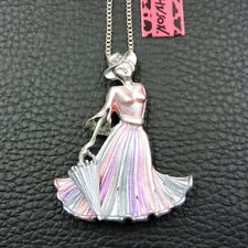 New Pink Enamel Crystal Elegant Umbrella Lady Betsey Johnson Pendant Necklace