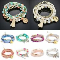 Charm Bohemian Multilayer Tassels Beads Bracelets Set Women Bangle Holiday Beach