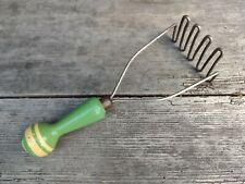 More details for vintage c1950's collectable potato masher with green + cream handle
