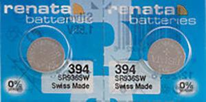 2 x Renata 394 Watch Batteries, 0% MERCURY equivalent SR936SW, Swiss Made