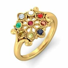 Finest Quality Certified Fancy Flower Design Navaratna Ring made with Silver