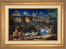 Thomas Kinkade Disney Cinderella Clock Strikes Midnight 18x27 LE SN Gold Frame