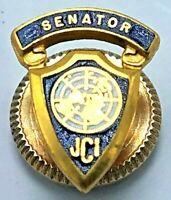 Vintage Gold Tone & Enamel Screw-Back JCI Jaycees Senator Lapel Pin