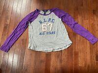 Polo Ralph Lauren Girls R.L.F.C. Long Sleeve Raglan Tee Gray/Purple Size XL (16)