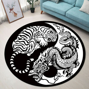 Yin Yang Symbol Dragon and Tiger Area Rugs Bedroom Living Room Round Floor Mat