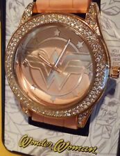 Wonder Woman Watch Pink Strap Rose Gold Tone Rhinestone DC Comics WOW9057