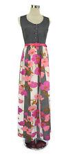 Vintage Maxi Dress - Hippy Floral Polka Dot - Pink Black White Button - 10/12/M