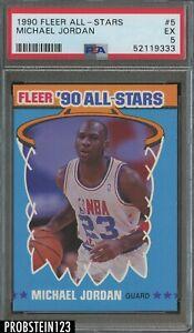 1990 Fleer All-Stars Basketball #5 Michael Jordan Chicago Bulls HOF PSA 6 EX