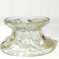Vintage Jeanette Punch Bowl Base Clear Glass Feather Pattern Preowned