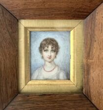 Fine Miniature Portrait Painting, Young Girl Wearing Coral Necklace. Circa 1800