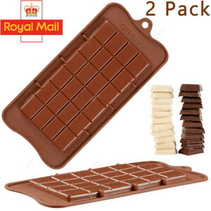 Silicone Chocolate Bar Mould Chocolatier Fondant Snap Wax Melt Bake Mold Tray UK
