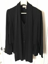 NWT Lanvin Black Ruffled Skirt Detail Long Sleeve Blouse Top Sz 40 M