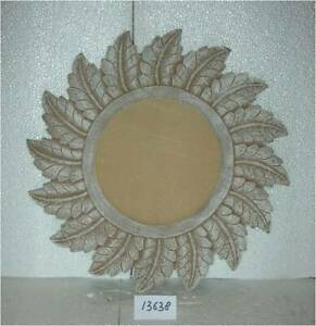 Wall Mirror Round Home Office Living Room Feather White MDF & Glass