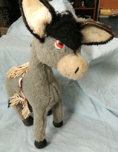 Vintage English Merrythought Soft Toy – Donkey/Burro with saddle –  55 x 42 cm