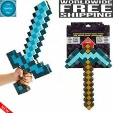2 in 1 Minecraft Games Transforming Diamond Sword And Pickaxe Hoe Toys Kids Gift