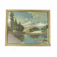 Vtg Frederick D Ogden Framed Lithograph Print Deer At Yosemite Mountain Scene