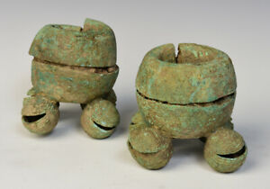 500 B.C., Dong Son, A Pair of Khmer Bronze Bangles with Bells