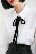 Multi Use Hippie Boho Long Black Velvet Flocking Skinny Scarf Bow Rope Necklace