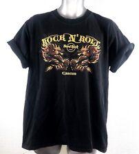 Hard Rock Cafe Rock N Roll Asiatico Drago Art da uomo scolorito Nero Maglietta a cancún M