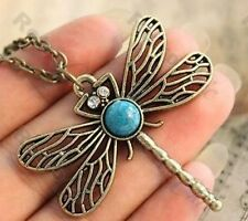 VINTAGE BRASS crystal eyes DRAGONFLY pendant LONG NECKLACE insect WING turquoise
