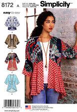Simplicity Sewing Pattern 8172 Women's XXS-XXL Kimonos - top jacket easy to sew