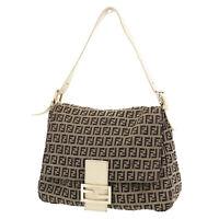 FENDI Zucca Pattern Mamma Bucket Hand Bag Brown Canvas Italy Auth #XX349 S