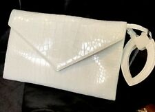 Alaia Clutch Embossed White Alligator Patent Leather With Mirror