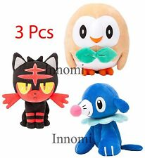 3 Pcs Set Sun Moon Pokemon Rowlet Litten Popplio Animal Stuffed Plush Doll Toy
