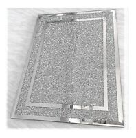 NEW Large Silver Crushed CHOPPING BOARD Crystal Diamond Kitchen Placemat Mat