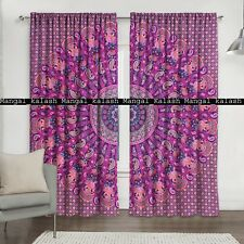 Indian multi mandala window door cotton tapestry drapes room decor curtain set