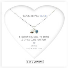 Silver plated something blue heart & crystal charm necklace & gift bag, wedding