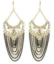 Amrita Singh Gold Crystal Elizabeth Steet Black Chain Earrings ERC 2027 NWT