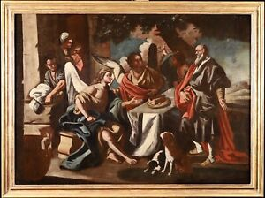 C. 1700 LARGE ITALIAN OLD MASTER OIL ON CANVAS - ABRAHAM AND THE THREE ANGELS