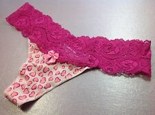 "Women Panties,Thongs""Ilusion""Size M. Pink Soft Silky W/Fishnet Waistband/Decorat"
