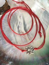 Red string multi wrap bracelet anklet KARMASTRING silver colour Lotus flower