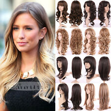 USA Fashion Women Long Hair Full Wig Natural Curly Wavy Straight Synthetic Wigs