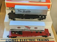 LIONEL O GAUGE SET OF TWO TRAILERS ON FLAT CARS: RIO GRANDE & RED WING SHOES NIB