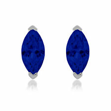 1 ct Marquise Brilliant Solitaire Blue Sapphire CZ Stud Earrings 14k White Gold