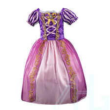 Girls Fairytale Princess Tangled Rapunzel Kids Fancy Dress Outfit 2-8 Years UK