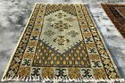 Authentic Hand Knotted Vintage Morocco Wool Area Rug 4 x 2 Ft (2622 KBN)