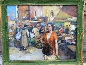 """1920s Italian Impressionist Oil Painting Of Naples Girl In Market By  """".PITTO """""""