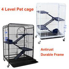Metal Pet Pig Rabbit Ferret Cage Small Animal Hutch Habitat movable House 4Level